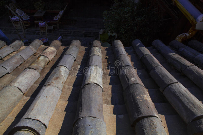 Chinese roof. With blue sky and strong sun royalty free stock photo