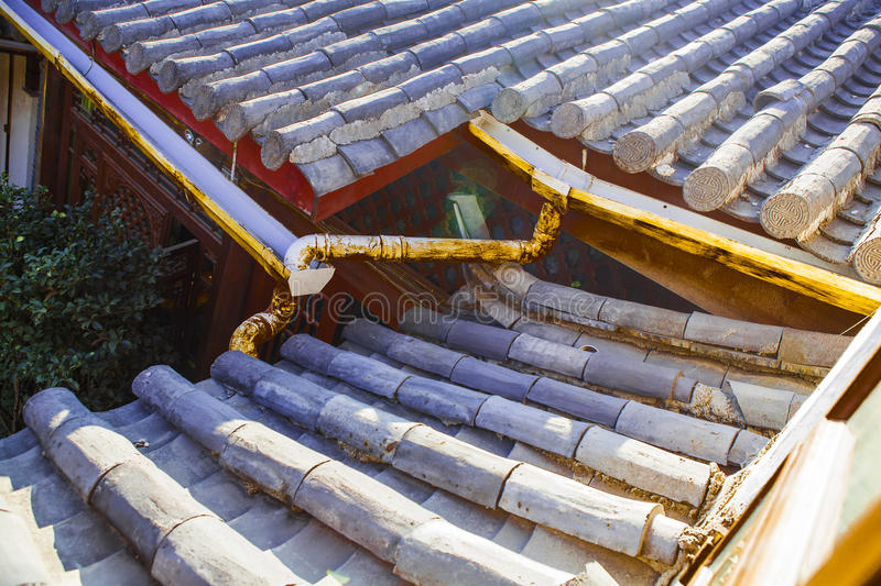 Chinese roof. With blue sky and strong sun stock photos