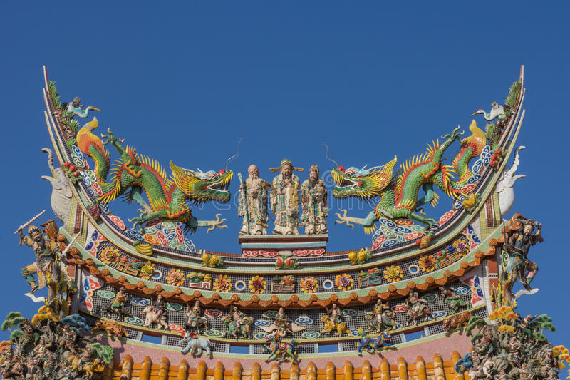 Chinese roof from Chinese temple. With blue sky royalty free stock photos