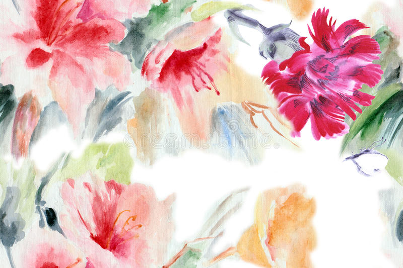 Chinese rose, clove, flower, bouquet, watercolor, pattern stock illustration