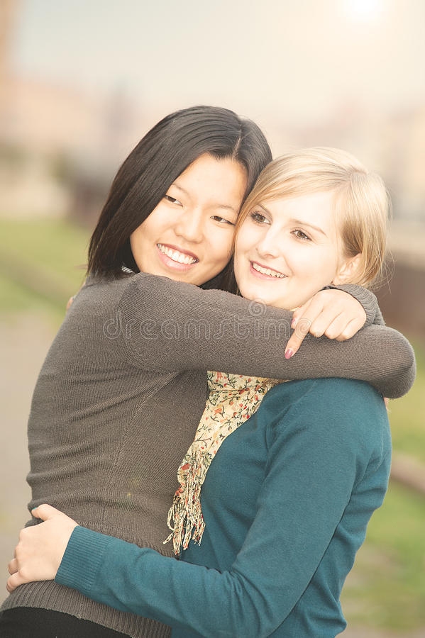 Chinese and Russian Women portrait stock photo