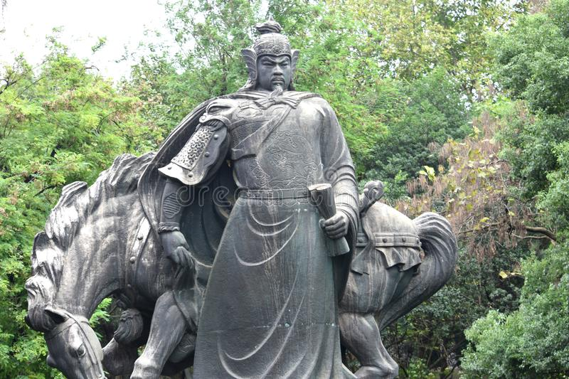 Chinese samurai statue. At Yellow crane temple, Wuhan, China royalty free stock photography