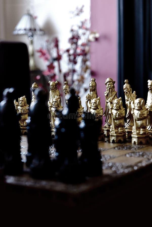 Chinese schaakstukken stock afbeeldingen