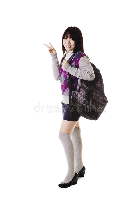 Chinese school girl portrait. stock photography