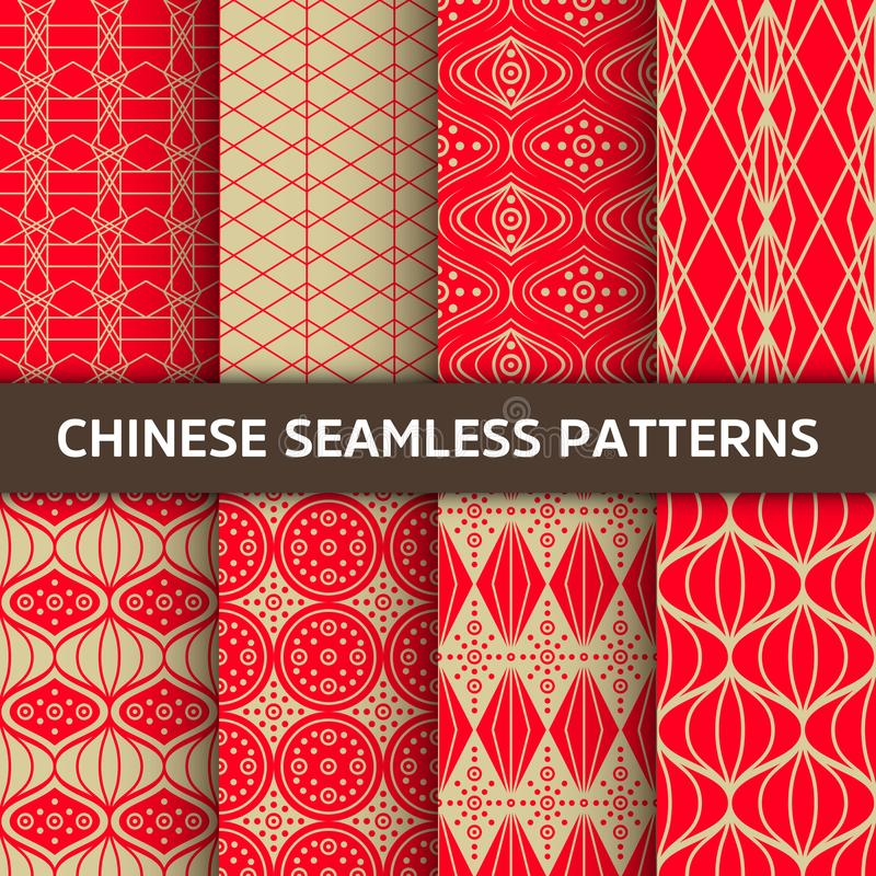 Chinese seamless pattern. Bright vector background with red ornament. Decoration with traditional China style. stock illustration