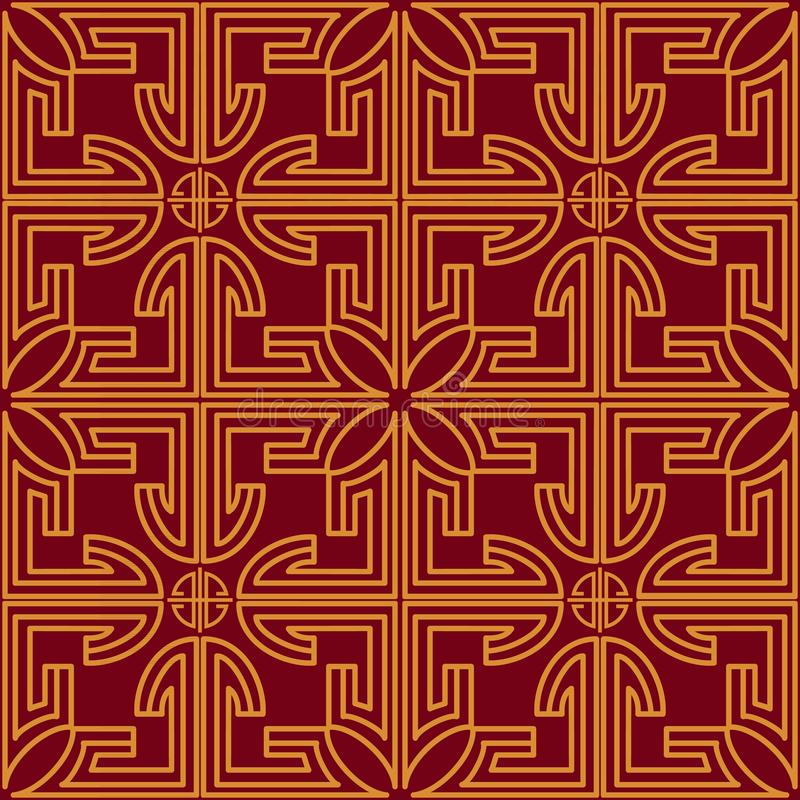 Chinese seamless pattern with gold decoration on red background. Holiday decoration for decorative design stock illustration