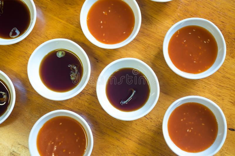 Chinese shabu sauce bowl in the restaurant royalty free stock photos