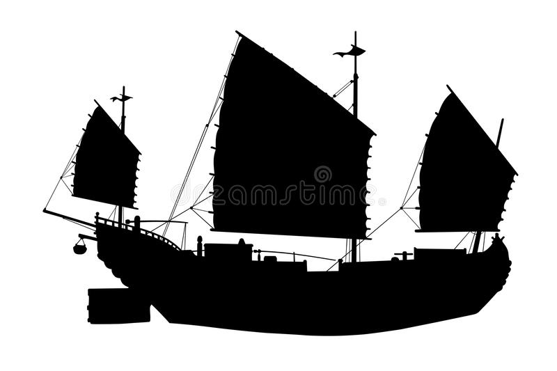 Chinese ship silhouette on a white stock illustration