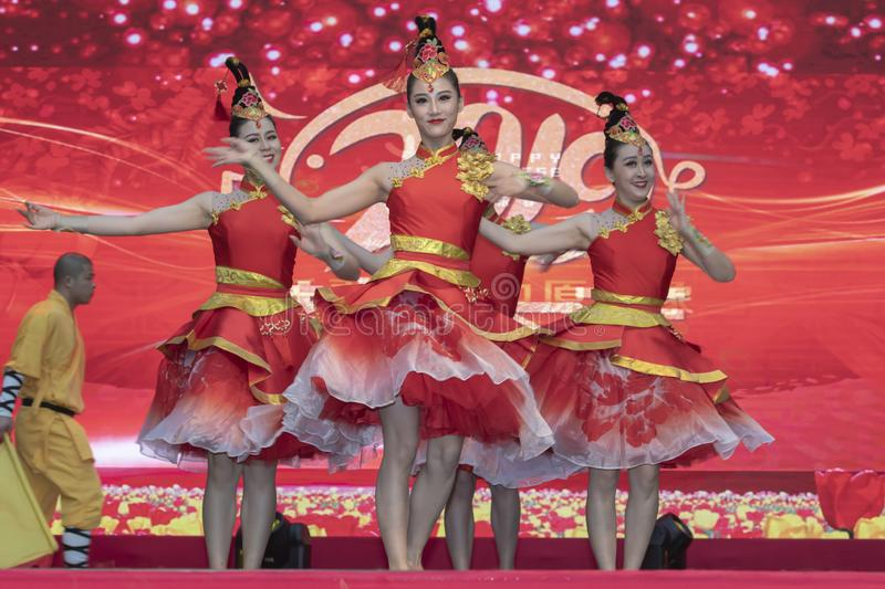 Chinese New Year 2019. Chinese show and stage performance by Art group from Henan Province China in the city hall premise celebrating the Chinese new year 2019 royalty free stock photography
