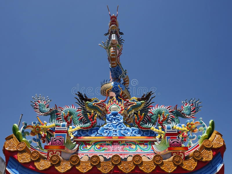 Chinese Shrine Roof Top Ornament stock photo