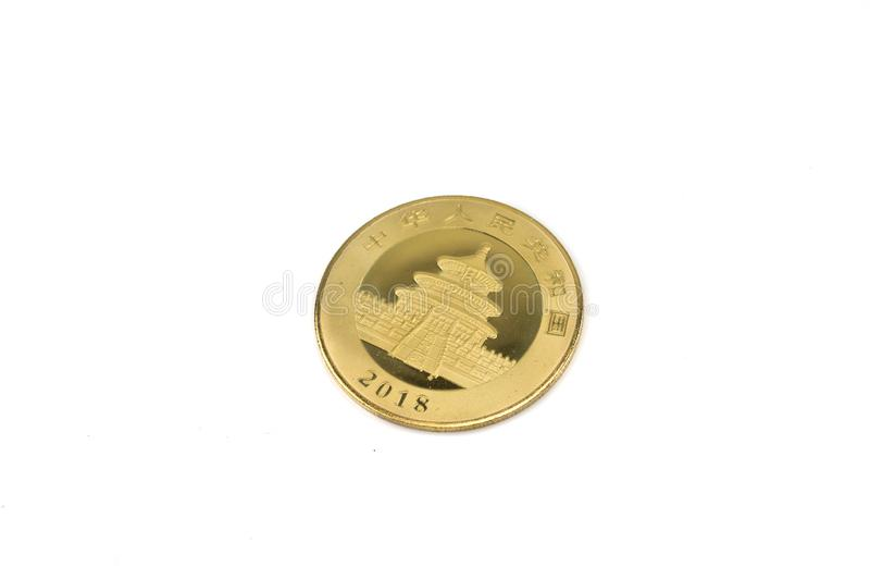 A Chinese silver coin on an isolated background royalty free stock images