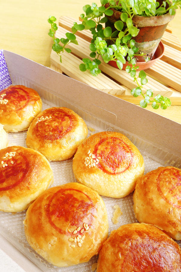 Chinese snack - bean paste pastry stock image