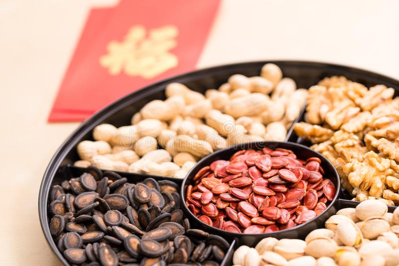 Chinese snack box for china new year with red pocket word mean l. Uck stock photo