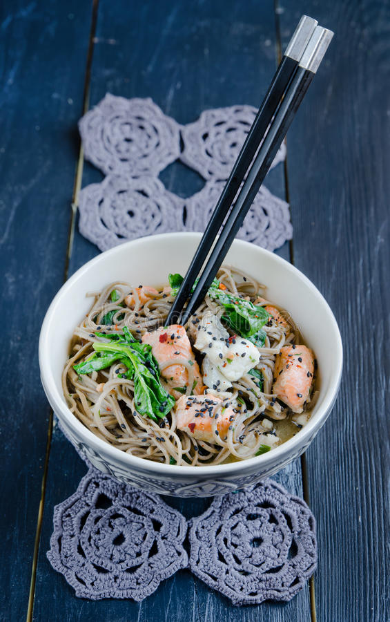 Chinese soba noodles royalty free stock photo