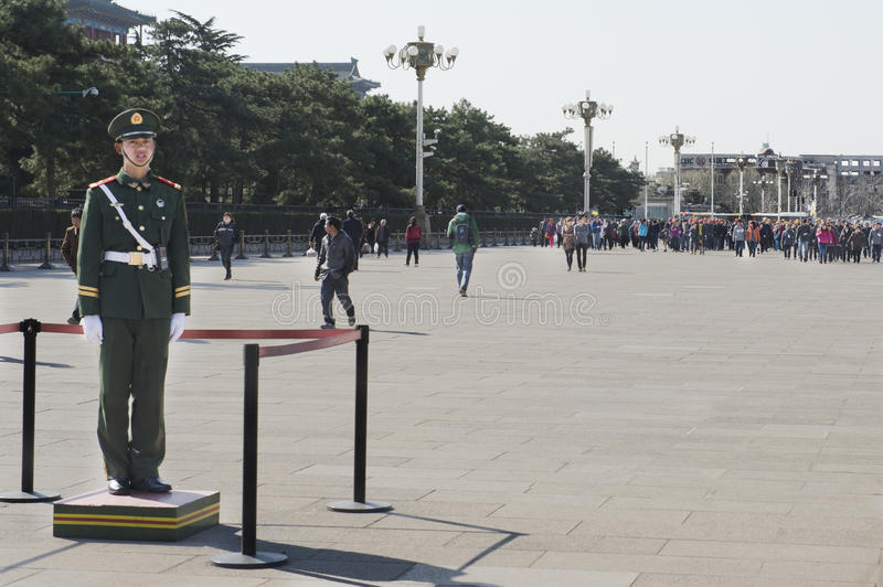 Chinese Soldider waiting for tourists