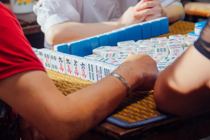 Chinese soul treasure - mahjong. Majiang is one of the most popular games in China stock photography