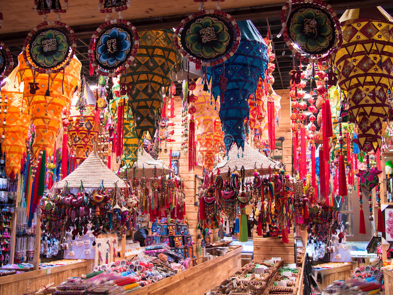 Chinese souvenir shop. Without peopl stock image