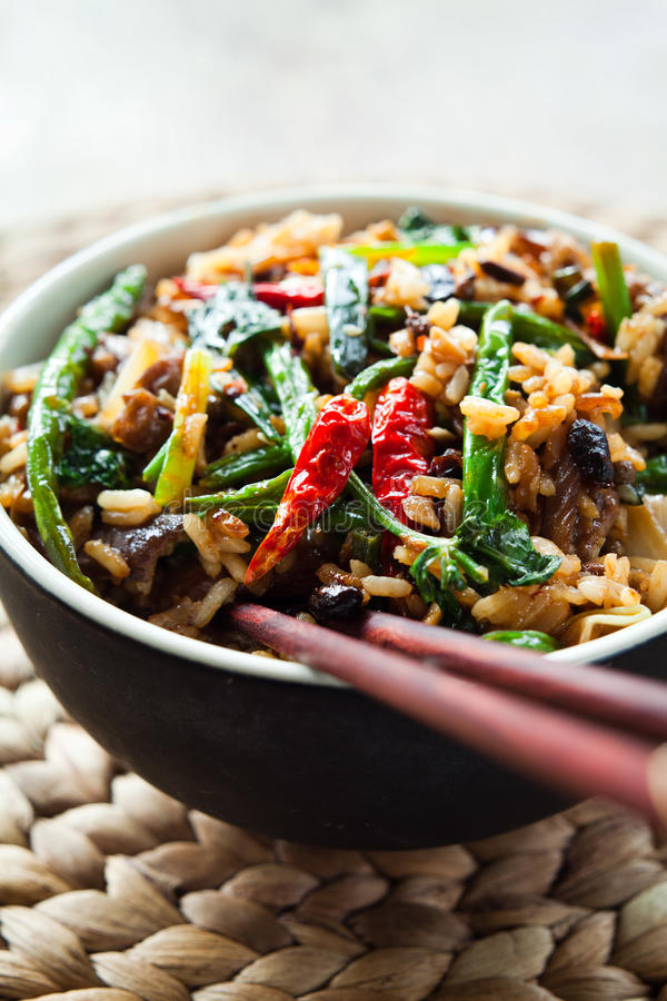 Chinese Spicy stir fry. Colorful chinese asian food - Spicy stir fry rice with chili, spnig onions, garlic, cilantro , green beans and marinated black beans royalty free stock photos