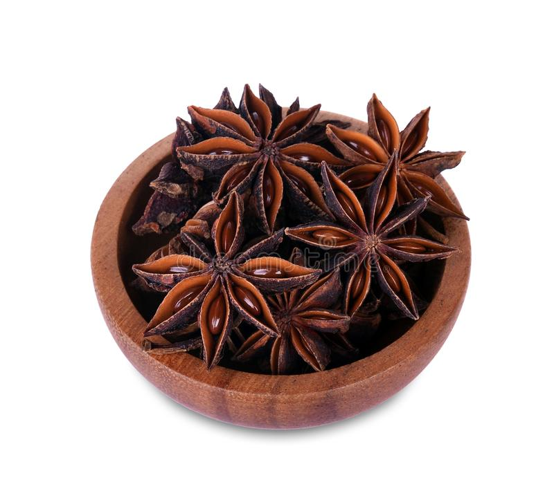 Chinese star anise seed in Chinese star anise seed in wooden bow royalty free stock images