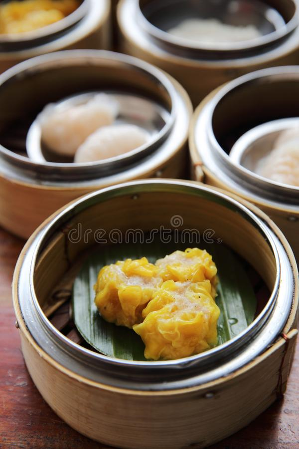 Chinese steamed pork dumplings dim sum royalty free stock photo