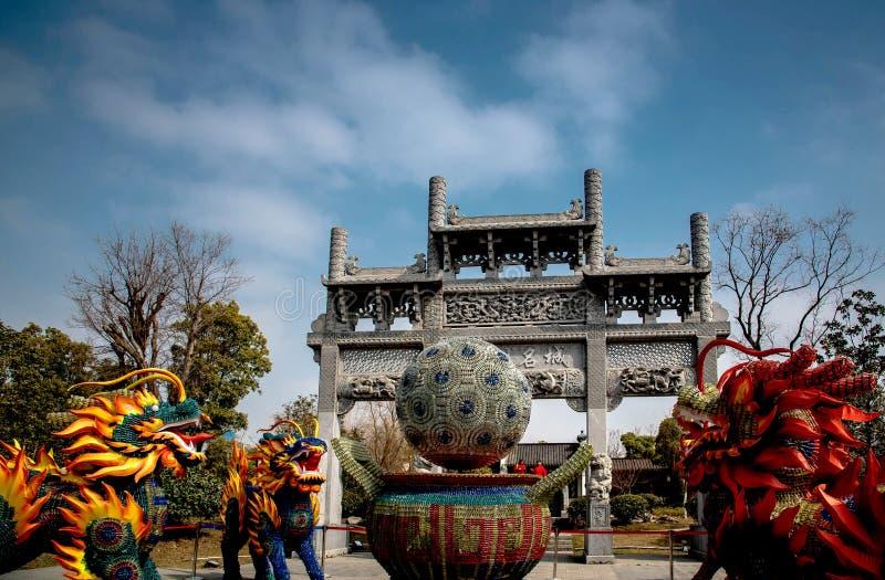 Chinese stijl herdenkingsoverwelfde galerij stock afbeelding