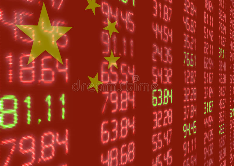 Chinese Stock Market Down royalty free illustration