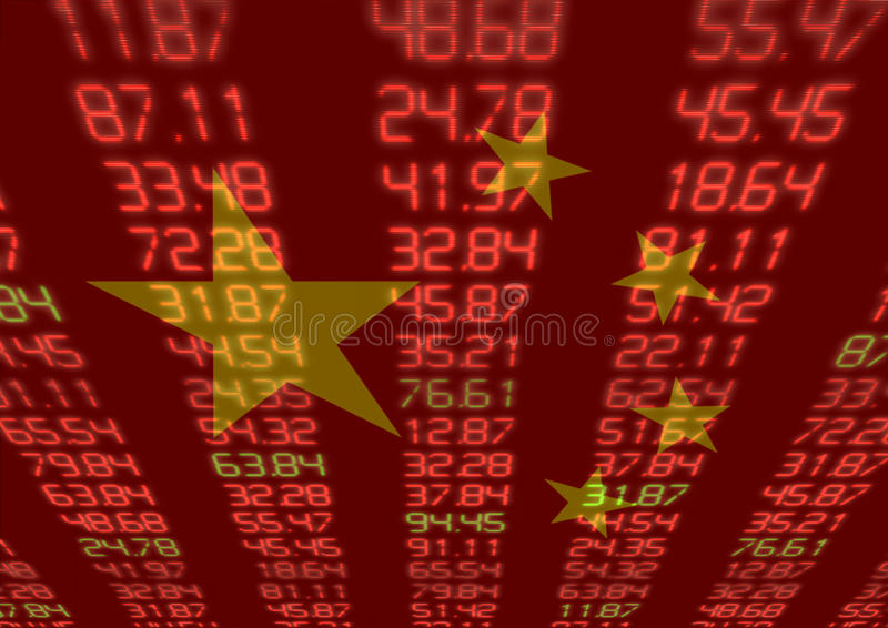 Chinese Stock Market. Red and Green Figures with Chinese flag royalty free stock photography