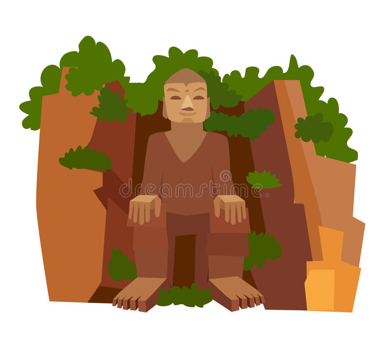 Chinese stone Buddha vector icon stock illustration