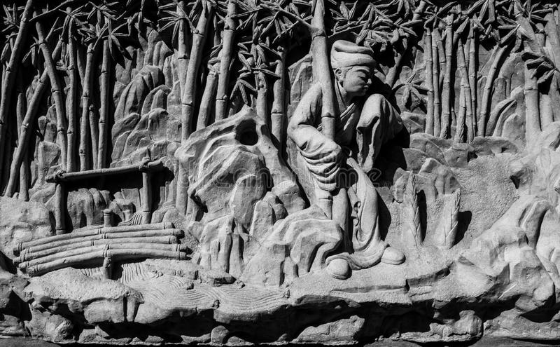 Chinese stone carving. In Chinese temple stock images