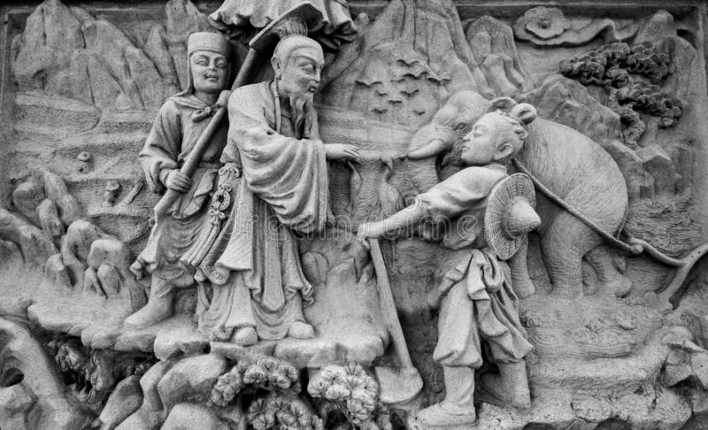 Chinese stone carving. In Chinese temple royalty free stock photos