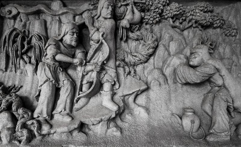 Chinese stone carving. In Chinese temple stock photos