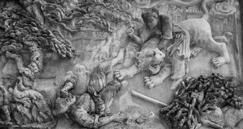 Chinese stone carving. In Chinese temple stock photo