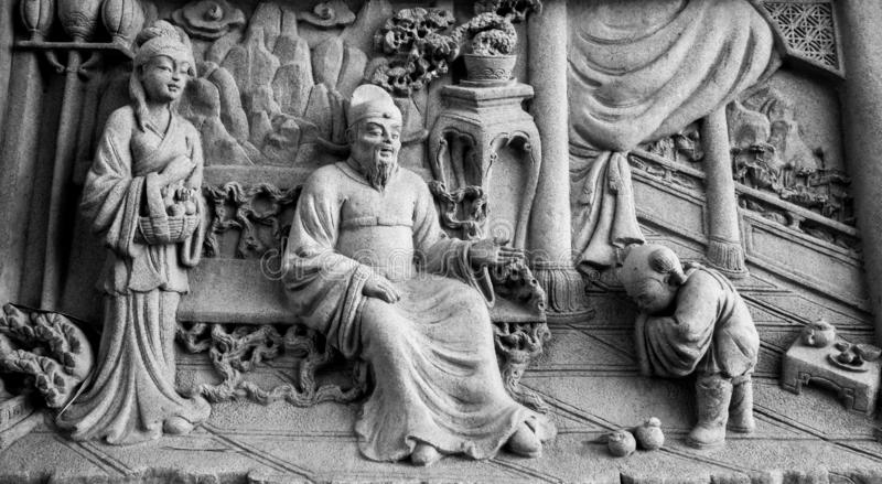 Chinese stone carving. In Chinese temple royalty free stock photography