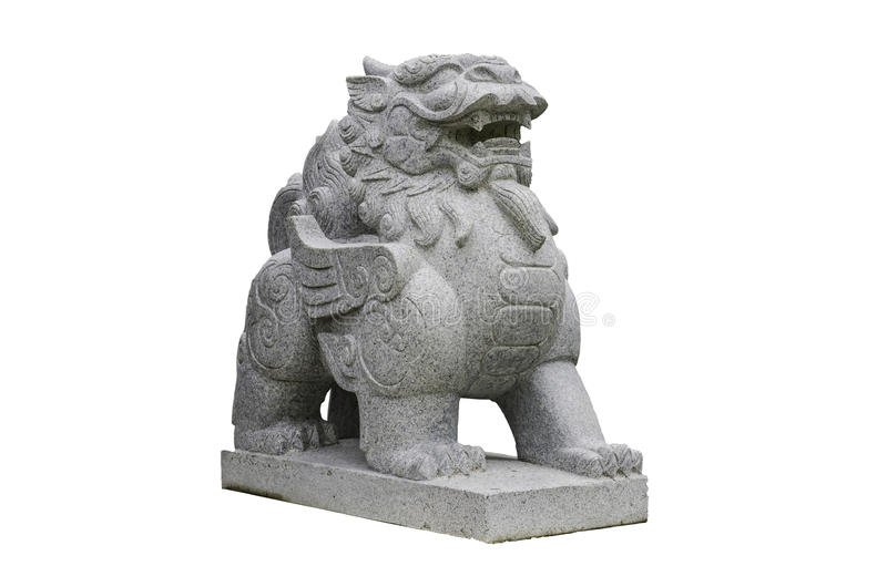 Chinese Stone Lion isolated on white with clipping path royalty free stock photos