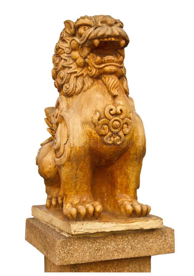 Chinese stone lion statue- the symbol of power for Chinese stock image