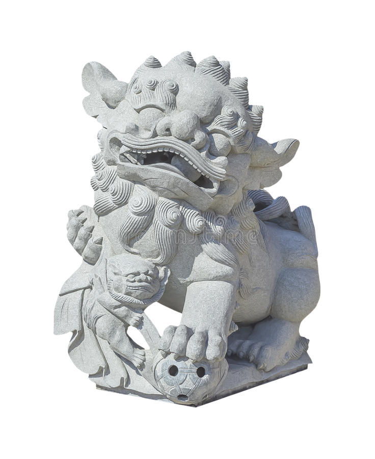 Chinese stone lion statue on white royalty free stock photos