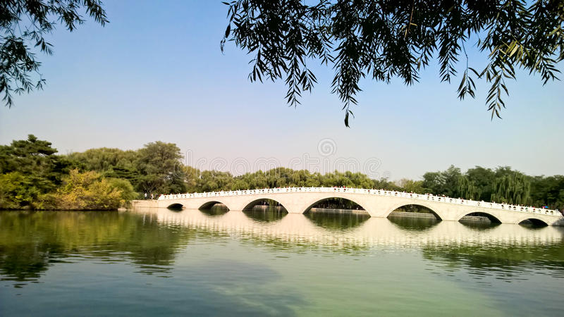 Chinese style arch bridge royalty free stock photography