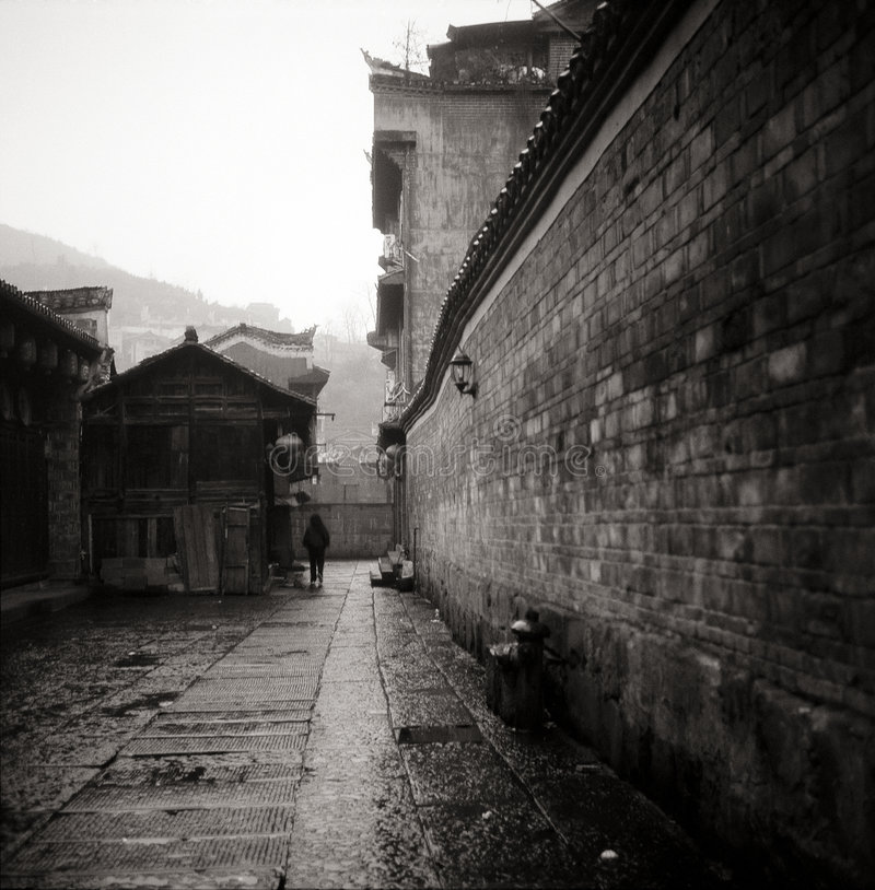 Download Chinese style building stock photo. Image of rainin, dark - 3843422