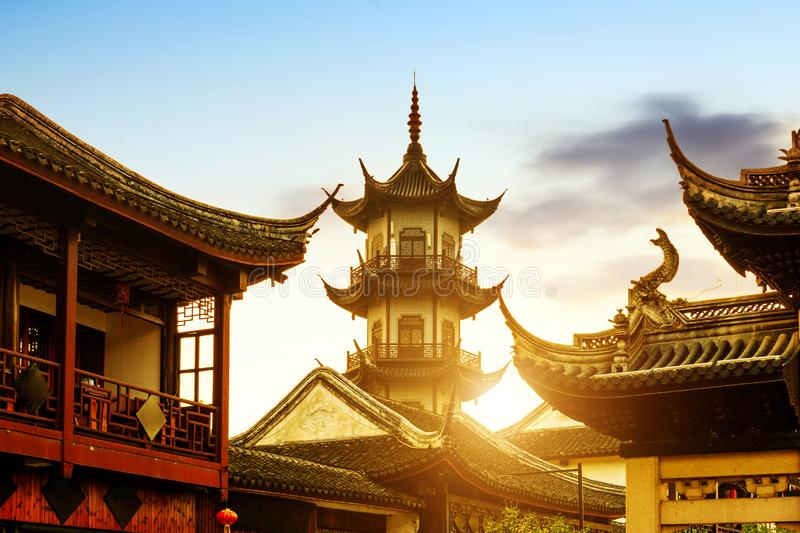 Chinese style buildings. Zhouzhuang, Chinese ethnic style buildings and towers stock photos