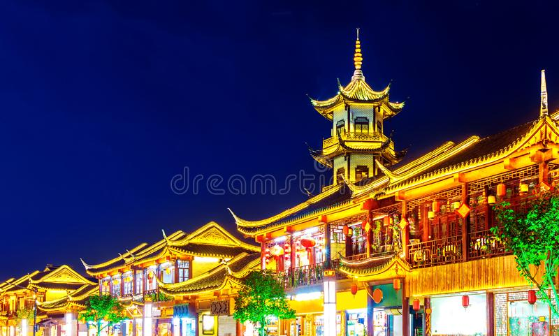 Chinese style buildings. Zhouzhuang, Chinese ethnic style buildings and towers stock photo