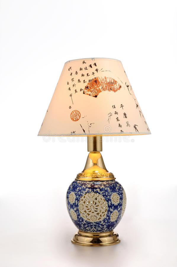 Chinese style ceramic table lamp. Table lamp decorated In the bedroom, the living room , library, restaurant, hotel, bar, KTV,shopping mall,office,Commercial stock photos