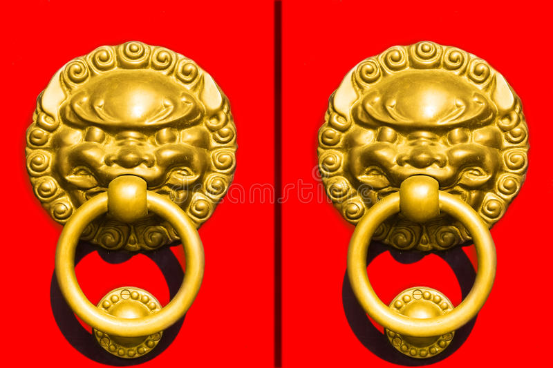 Chinese-style door handles stock photo