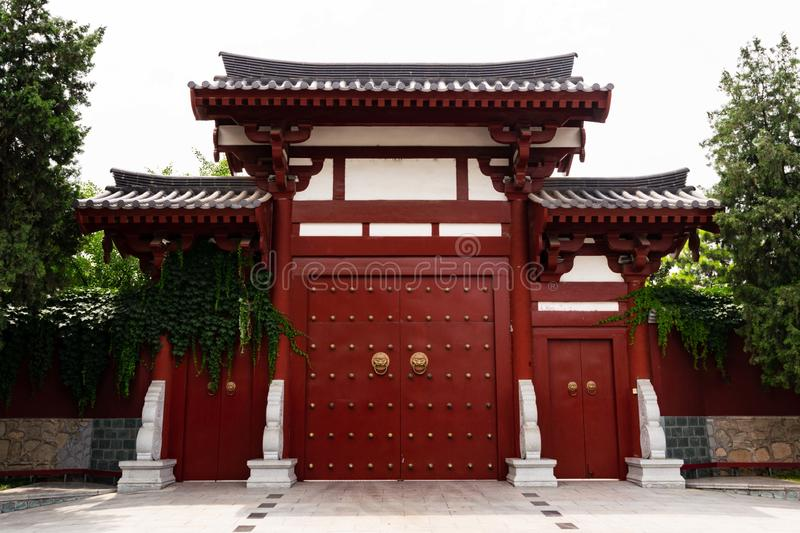 Chinese style door in a buddhist temple - Xi`an, China stock image