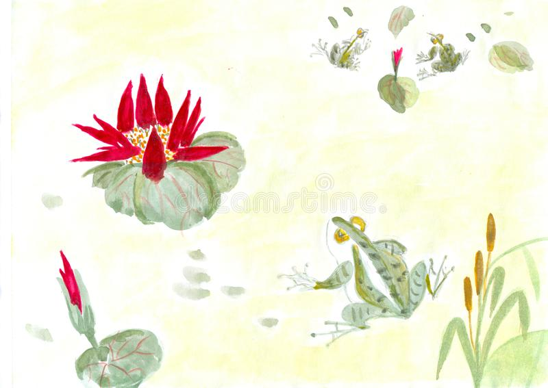 Chinese-style drawings, sketches, Lotus,Water Lily vector illustration