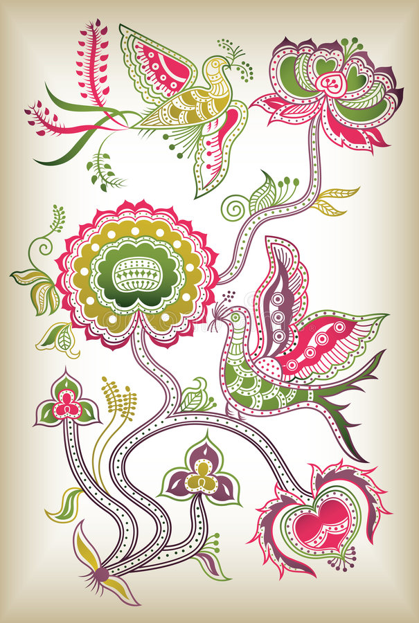 Chinese style floral and bird