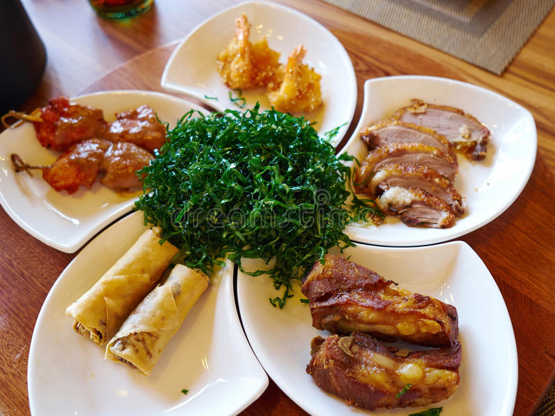 Chinese style meal appetizers royalty free stock images