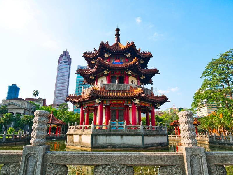 Chinese style pagoda in pond at 228 Peace Memorial Park Taipei royalty free stock photo