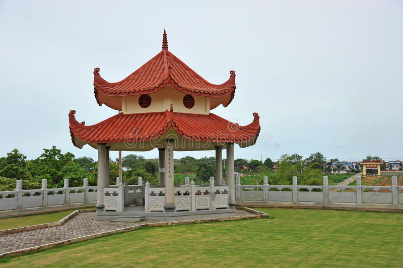 Chinese Style Pavilion. At A Chinese Temple In Indonesia royalty free stock photo