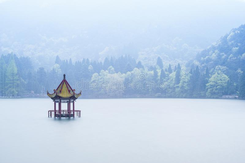 Download Chinese Style Pavilion In The Middle Of Lake Stock Photo - Image of drawbridge, cloud: 30468320