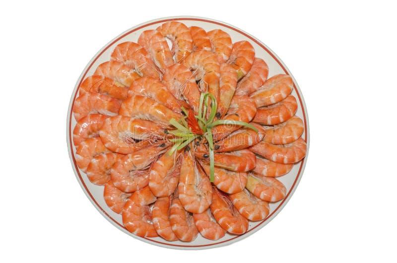 Chinese style shrimp. Isolated on white background. royalty free stock image